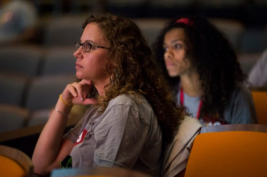 "Attendees watch at Pilot Flying J's ""hackathon"" at the University of Tennessee's student union Wednesday, July 31, 2019."
