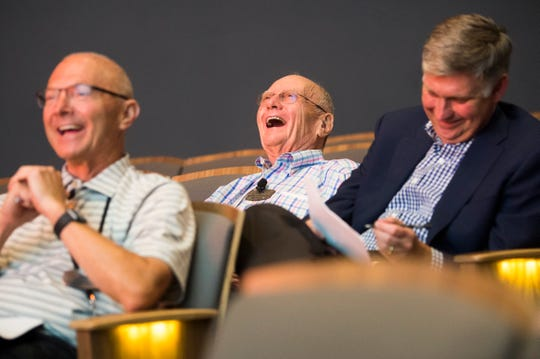 "Judges laugh during a question-and- answer period at Pilot Flying J's ""hackathon"" at the University of Tennessee's student union Wednesday, July 31, 2019."