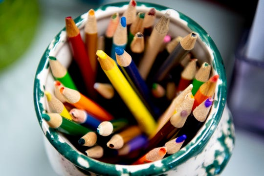 Colored pencils in Robin Bell's classroom at Gresham Middle School in Knoxville, Tennessee on Thursday, August 1, 2019. Bell is retiring after 30 years of teaching in Knox County Schools.