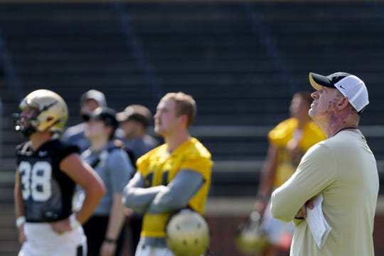 Purdue head coach Jeff Brohm watches drills during practice, Thursday, Aug. 1, 2019 at Ross-Ade Stadium in West Lafayette.