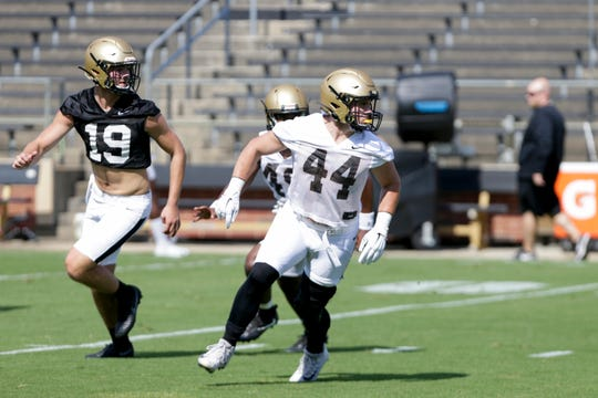 Purdue linebacker Ben Holt (44) watches the play during practice, Thursday, Aug. 1, 2019 at Ross-Ade Stadium in West Lafayette.