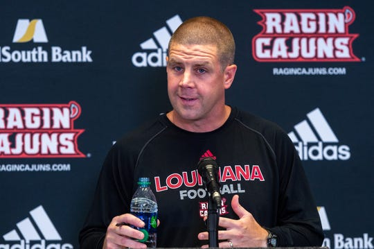 Cajuns Head Football Coach Billy Napier speaking with media during the Football media day. Aug. 1, 2019.