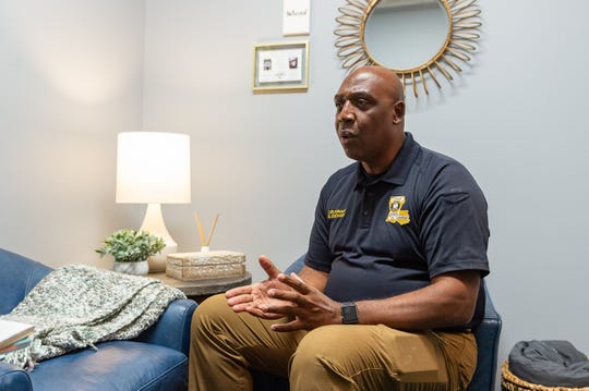 Lieutenant Darren Zachary. discussing the soft interview room, designed as a place where domestic violence and sexual assault victims can report crimes in a less sterile environment. Thursday, Aug. 1, 2019.