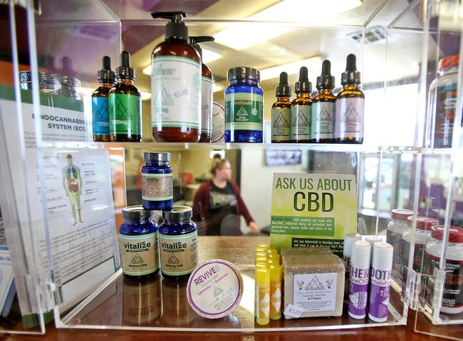 A display selling Mountain Pure's CBD products at the Fit Blendz store on Airline Highway in Baton Rouge.
