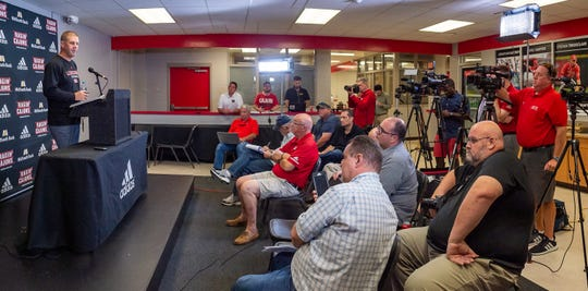 With preseason camp opening Friday, Ragin' Cajuns coach Billy Napier talks during Thursday's Media Day at UL.