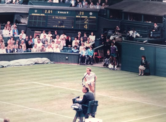 Bernie Fernandez got this shot of John Lloyd, former husband of tennis great Chris Evert, while taking photos at Wimbledon in the 1980s for his Air Force base newspaper.