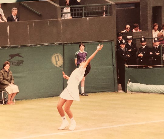 Bernie Fernandez got this shot of Gabriela Sabatini serving at Wimbledon. Sabatini, of Argentina, was one of the top players in the world in the 1980s, winning a Wimbledon doubles title in 1988.