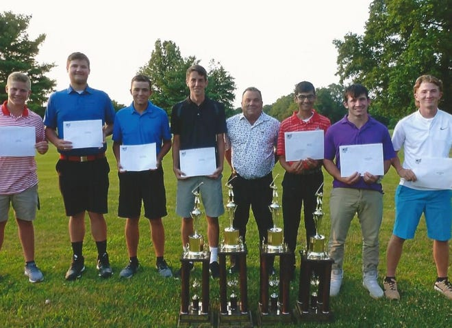 The following won special awards during the Heart of Ohio Junior Golf Association's summer season: Alex Pratt of Pleasant (HOJGA Player of the Year Third Runner-up $500 Scholarship), Travis Brake of Fairbanks (Wensinger Family Player of the Year Second Runner-up $500 Scholarship), Hayes Bentley of Northmor (Ross Carley Memorial First Runner-up $1,700 Scholarship, NUCOR Steel Marion Most Improved $500 Scholarship and Knights of Columbus Sportsmanship $500 Scholarship), Justin Brackenridge of Fairbanks (David J. Wensinger Player of the Year $2,000 Scholarship), HOJGA corporate sponsor and guest speaker Dennis Jesse of Sarasotta, Florida, Minoy Shah of Pleasant (HOJGA Player of the Year $750 Scholarship for ages 13 to 15), Nathan Stewart of Delaware Christian (HOJGA Three-Year Accumulative Point $750 Scholarship), and Jesse Schertzer of Ridgedale (Marion County Youth Foundation MERIT $1,000 scholarship). Not pictured is Brennon Newell of Pleasant who won the Charles W. Emans Memorial Patriot $500 Scholarship.