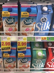 Soy, almond and other plant-based milk alternatives are shown at a Pick 'N Save store in Fond du Lac.
