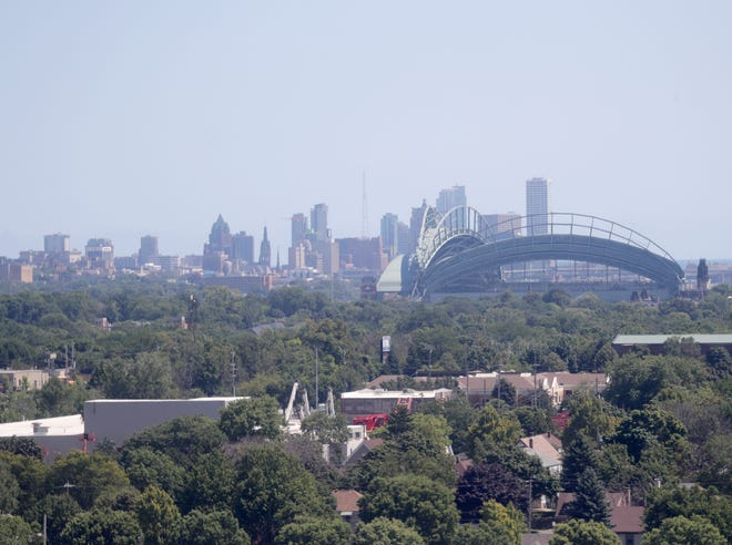 The view of the Milwaukee skyline and Miller Park from the WonderFair Wheel at the Wisconsin State Fair in West Allis on Thursday, Aug. 1, 2019.