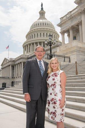U.S. Senator John Boozman and Macie Kelly on the steps of the U.S. Capitol.