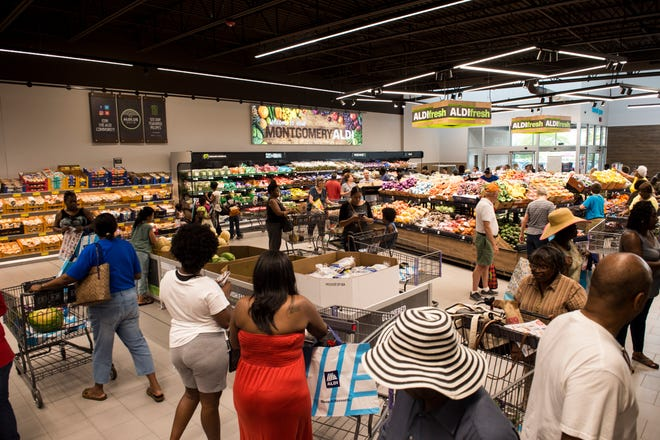 Shoppers roam during the ALDI grocery store in Montgomery.