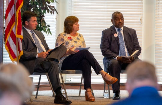 House District 74 Republican candidates Michael Fritz and Charlotte Meadows, and Democratic candidate Rayford Mack attend a forum at Dalraida United Methodist Church.