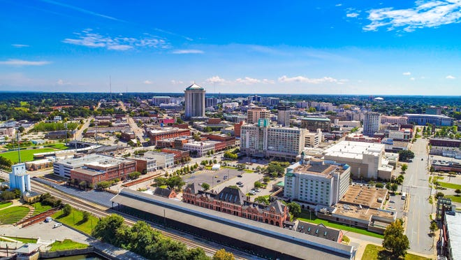 An aerial view of downtown Montgomery.