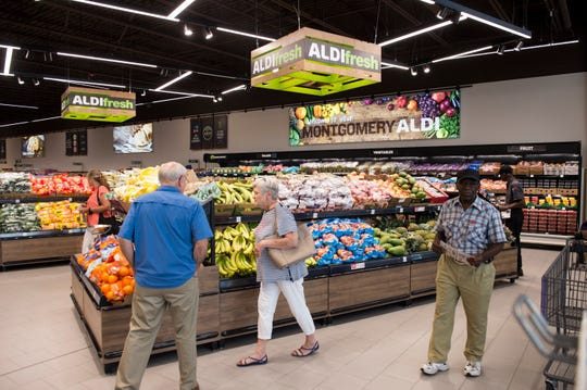 The produce section during the opening of the new ALDI grocery store in Montgomery, Ala., on Thursday, Aug. 1, 2019.