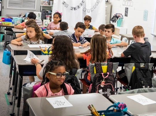 Second graders settle into their classroom at West Elementary School in Mt. Juliet on the first day of school Thursday, August 1, 2019.