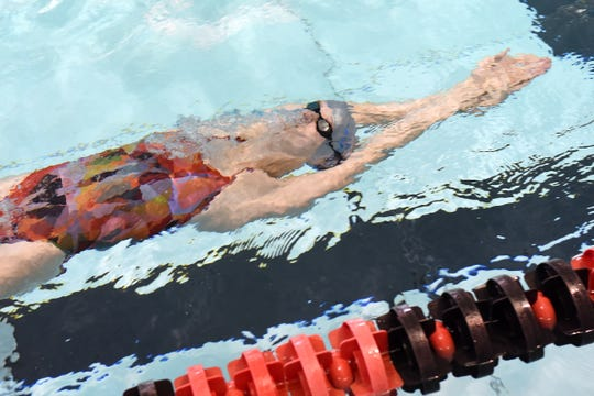 Northridge senior Riley Bunstine practices with the Pau Hana Swim Team on Tuesday, July 30, 2019 at Denison University's Mitchell Center. Bunstine is one of four Pau Hana swimmers competing this weekend in the USA Swimming Futures Championships.