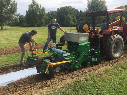 Acela CBD crew put down organic film before hemp plants are placed in the ground for further research on Aug. 1 in Reynoldsburg.