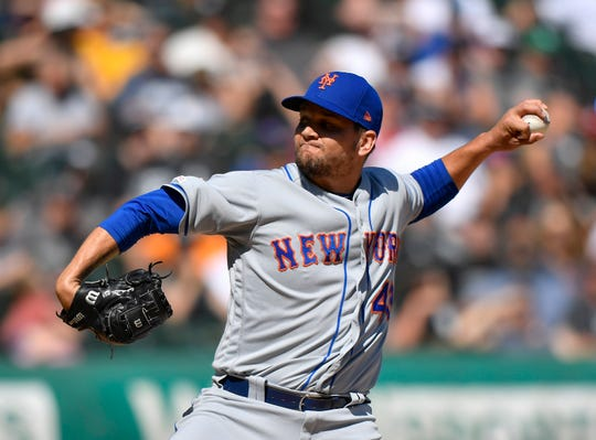 Aug 1, 2019; Chicago, IL, USA; New York Mets relief pitcher Luis Avilan (43) delivers the ball in the eight inning against the Chicago White Sox at Guaranteed Rate Field.