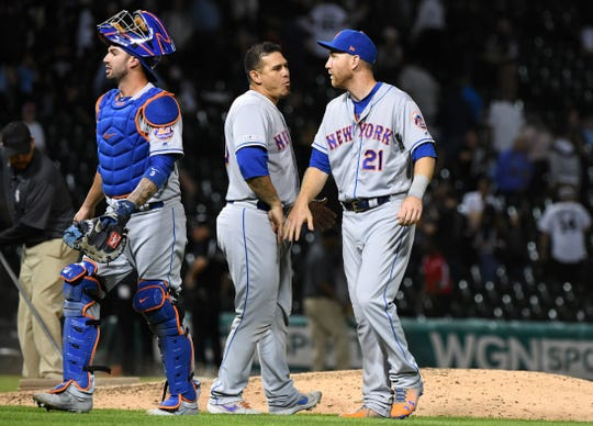 Jul 31, 2019; Chicago, IL, USA; New York Mets third baseman Todd Frazier (21) reacts after the game against the Chicago White Sox at Guaranteed Rate Field.