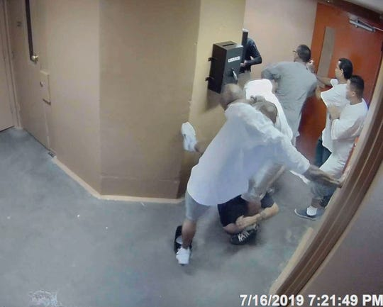 Surveillance video footage shows an attack on prison guards at Southern New Mexico Correctional Facility on July 16, 2019.