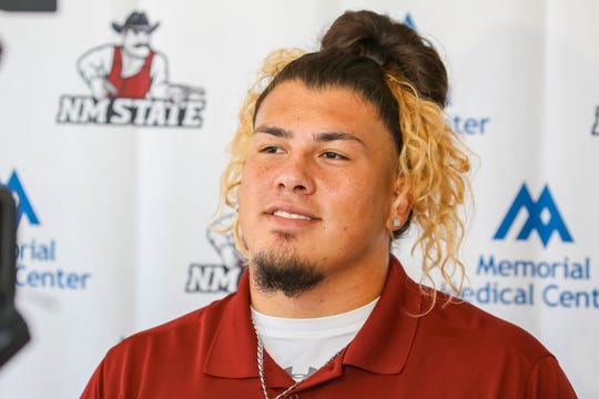 Senior Defensive Line, Roy Lopez speaks at a press conference on New Mexico State University campus in Las Cruces on Aug. 1, 2019.