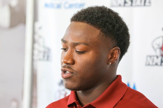 Senior running back, Jason Huntley speaks at a press conference on New Mexico State University campus in Las Cruces on Aug. 1, 2019.