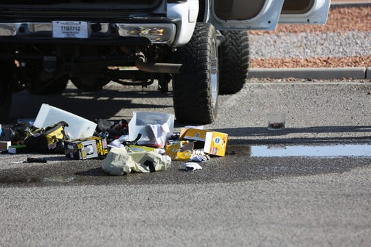 Las Cruces authorities investigate a suspicious package found inside a vehicle at the Doña Ana County Courthouse on Thursday, Aug. 1, 2019.