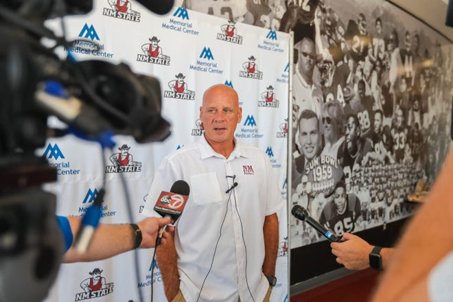 Head coach, Doug Martin speaks at a press conference on New Mexico State University campus in Las Cruces on Aug. 1, 2019.