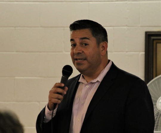 U.S. Rep. Ben Ray Lujan speaks, Wednesday, July 31, 2019, at Chef Bernie's in Farmington.