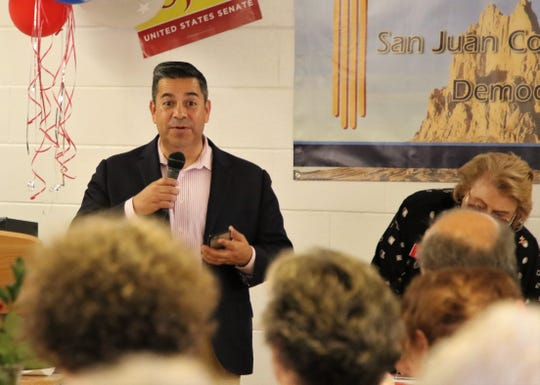 Rep. Ben Ray Lujan, D-NM, addresses a crowd, Wednesday, July 31, 2019, at Chef Bernie's in Farmington.