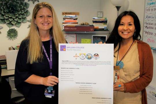 Alexis Domme, left, director of the teacher education programs at San Juan College, and Kari Deswood, alternative licensure program coordinator, display a poster listing the residency sites for local schools participating in the college's Project Alpine II this fall.