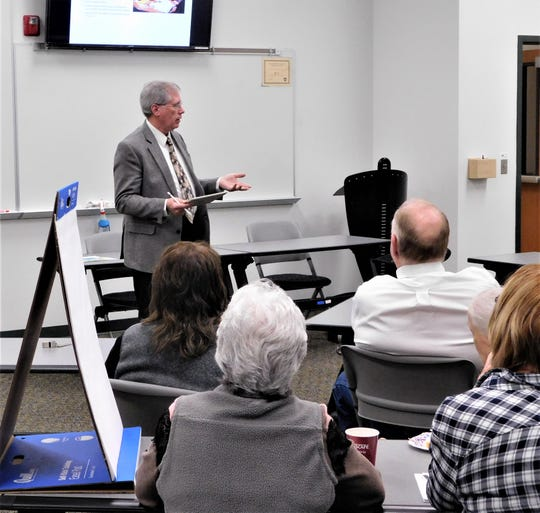 Dr. D. Ryan Carstens, president of Eastern New Mexico University-Ruidoso, conducts a forum gaining citizen input.