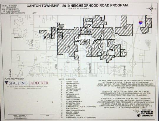 Canton Township construction map.