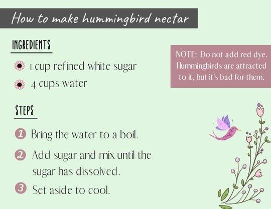 A recipe for hummingbird nectar.