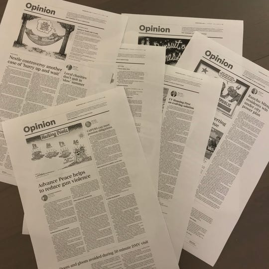 Page proofs of Desert Sun Opinion pages.