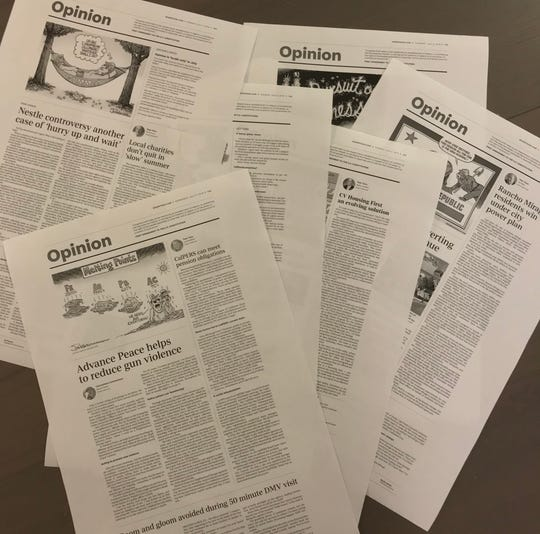 "Page proofs of Desert Sun Opinion pages from the July 2019 ""no national politics"" month."