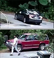 "The Escambia County Sheriff's Office is seeking information about a dark-colored sedan (top) and a male (bottom) allegedly involved in a ""deadly missiles"" incident on July 22."