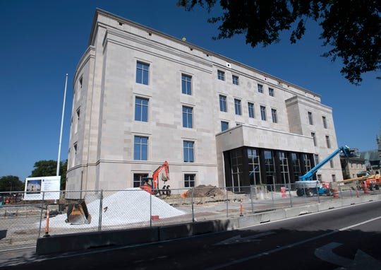 The federal courthouse building in downtown Pensacola continues to undergo renovations last week.