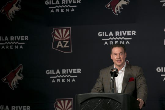 Coyotes owner Alex Meruelo speaks to the media at a press conference announcing Meruelo's new ownership of the Coyotes at Gila River Arena in Glendale, Ariz. on July 31, 2019.