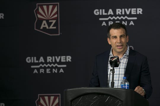 Coyotes President Ahron Cohen speaks to the media at a press conference announcing new ownership of the Coyotes at Gila River Arena in Glendale, Ariz. on July 31, 2019.