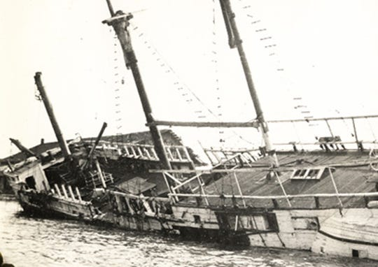 "A former 1800s prison ship called ""Success"" was retired after being burned by vandals in Port Clinton in 1939."