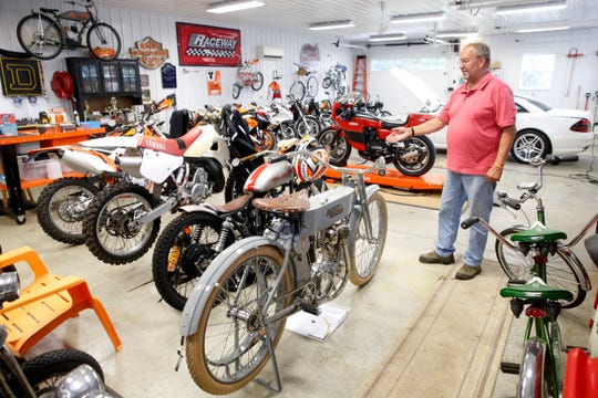 Don Veith talks about some of the motorcycles in his personal collection at his home  in the Town of Poughkeepsie on July 30, 2019.