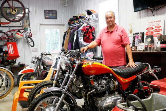 Don Veith with his 1973 Triumph Hurricane motorcycle on display in his garage in the Town of Poughkeepsie on July 30, 2019. The Hurricane was a commercial failure, yet is one of Veith's most valuable and collectible motorcycles.