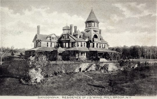 The mansion at Sandanona, the Millbrook estate of John Daniel Wing, established in 1887 is shown in this vintage postcard. Prior to its relocation and enhancement, the building served as the Nine Partners Schoolhouse on Route 343.