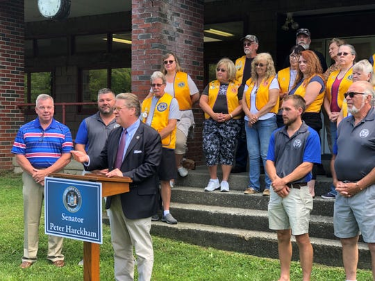 Senator Pete Harckham announces he has secured a $150,000 grant to replace the roof of the Lions Building, located in the the Town of Pawling's Murrow Park.