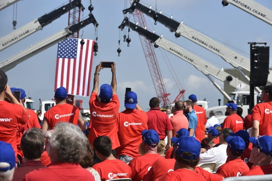 Mike Pence traveled to Franklin County on Aug. 1, 2019 to speak with nearly 1,000 Manitowoc Cranes workers about the United States-Mexico-Canada Trade Agreement.