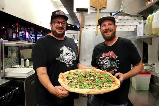 "Evel Pie on Fremont Street has a new grasshopper pizza on the menu called ""The Canyon Hopper."""