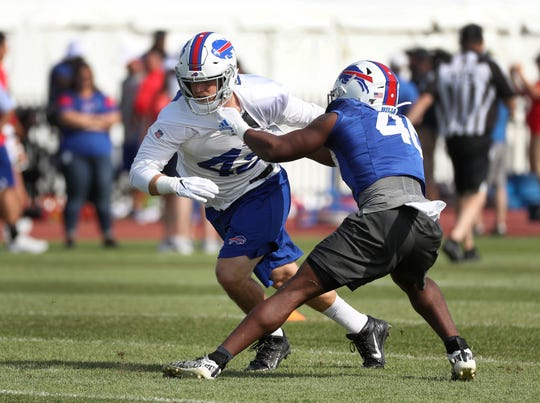 Bills Patrick DiMarco fights through a block during special teams work.