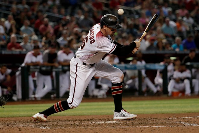 Arizona Diamondbacks' Tim Locastro hits a bloop single against Baltimore in Phoenix earlier this year. The Auburn native hit his first homer in the major league on Wednesday, July 31, 2019, against the New York Yankees.